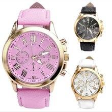 2017 NEW Women's Fashion Roman Numerals Faux Leather Analog Quartz Wrist Watch relojes mujer 2017 #08