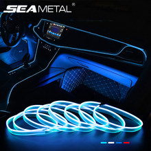 Car Styling EL Wire Edge LED Neon Car Lights Party Auto Decor Light Flexible EL Wire Lamps Rope Tube LED Strip With DC12V Driver