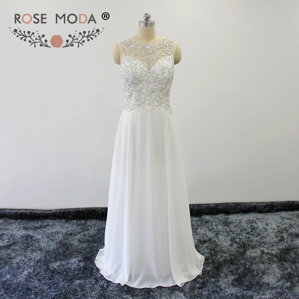 Rose Moda Soft and Light Chiffon Boho Wedding Dresses Cut Out Back Crystal Beaded Maternity Wedding Dresses for Reception