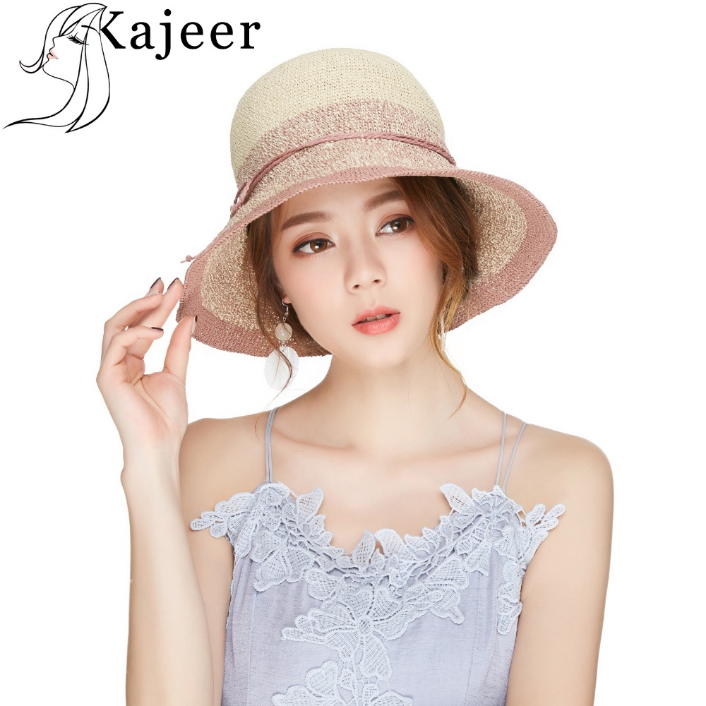 Kajeer Casual Summer Wide Brim Sun Hat For Women Pink Color Panama Chapeau Ladies Beach Travel Breathable Straw Weaving Caps