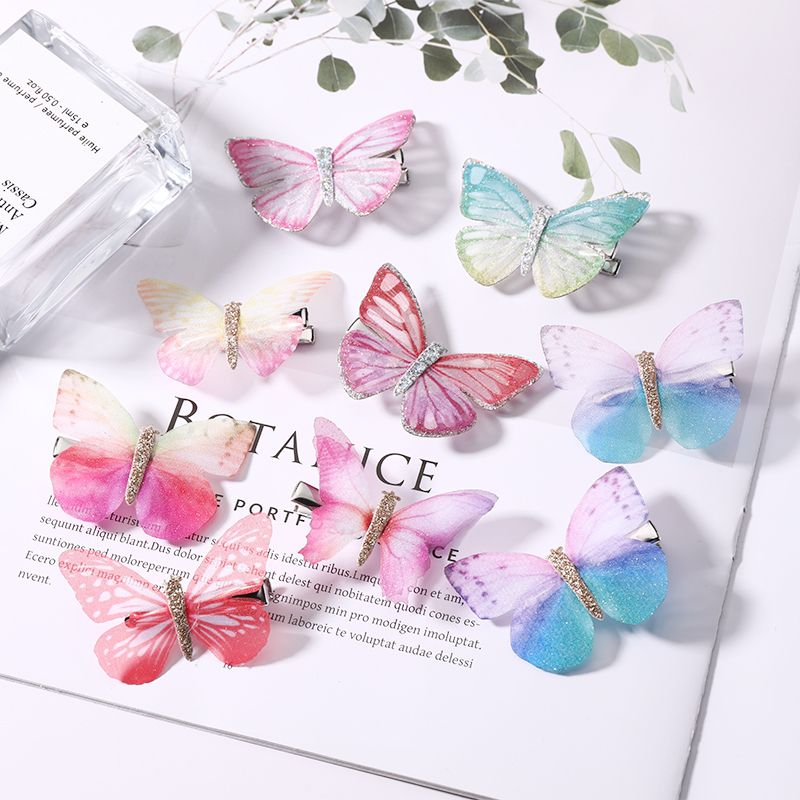 2Pcs/Pack New Fashion Design Girls Beautiful Colorful Simulation Butterfly Hair Clips Sweet Kids Hair Accessories