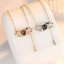 2pcs Fashion 100 languages I love you Angel Eyes Projection Pendant Necklace Romantic Love Memory Wedding Clavicular
