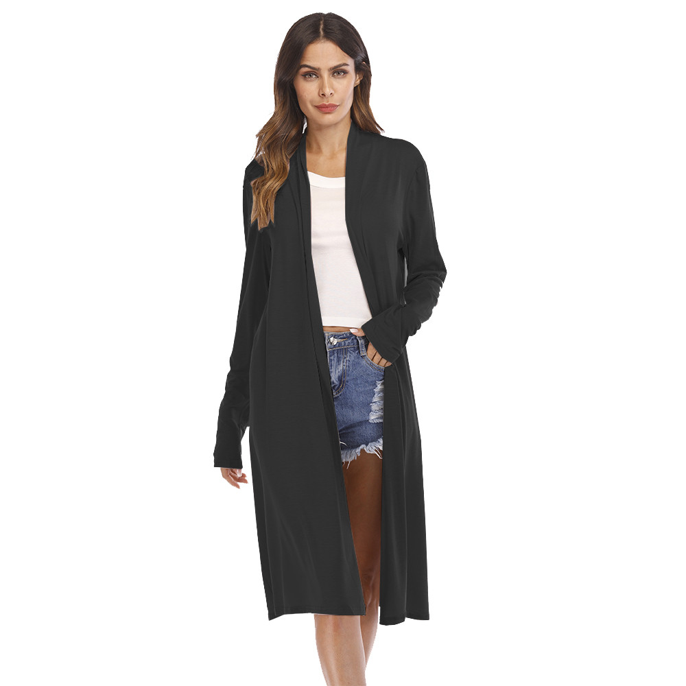 Womens Casual Sexy Long Sleeve Open Front Patchwork Loose Cardigan Coat