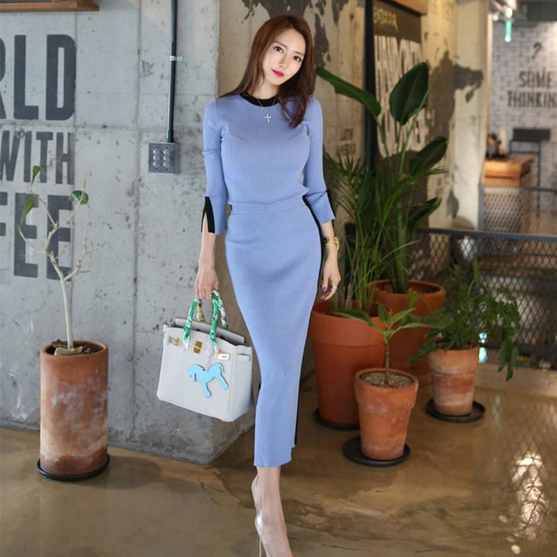 New Arrival Women's Temperament OL Two-piece Set Warm Basic Shirt Solid Comfortable Slim Pencil Skirt Fashion Women Knit Sets