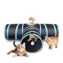 Funny Cat Tunnel 2 Holes Play Tubes Balls Collapsible Crinkle Kitten Dog Toys Puppy Ferrets Rabbit Pet