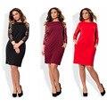 5xl 6xl tamanho grande 2017 primavera dress big size elegante lace dress vestidos plus size roupas femininas vermelho preto em linha reta vestidos