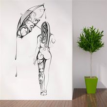 Wall Decoration Women In Rain Room Sticker Vinyl Removeable Mural Magical Mind Mystic collection fantasy floral Art Poster LY314