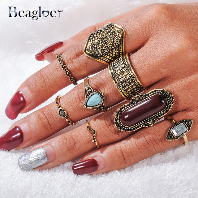Beagloer Vintage Midi Ring For Women Boho Antique Silver Color Big Stone Knuckle