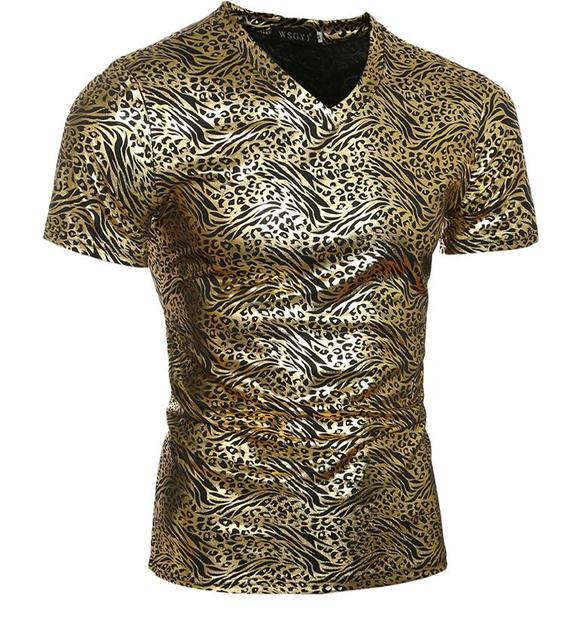 Novelty Mens T shirts 2017 Summer Bronzing Leopard Print V Neck Casual Male Short Sleeve T Shirt Men Tops Tee Shirts Gold Sliver