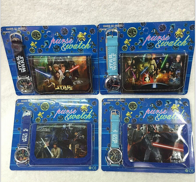 Wholesale 12Sets Cartoon Star Wars Wristwatch watch and Purses Wallets Party Fav