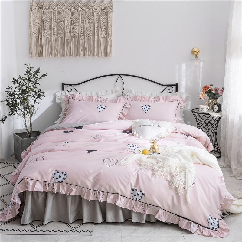 Girls pink Cotton Bedding Set gray bed skirt twin full queen king Quilt Cover Princess Style duvet cover love luxury bedclothesGirls pink Cotton Bedding Set gray bed skirt twin full queen king Quilt Cover Princess Style duvet cover love luxury bedclothes