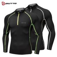 Outto Cycling Base Layers Men's Warm Half Zip Top Winter Breathable Bike Bicycle Jersey Elastic Thermal Road Sport Underwear