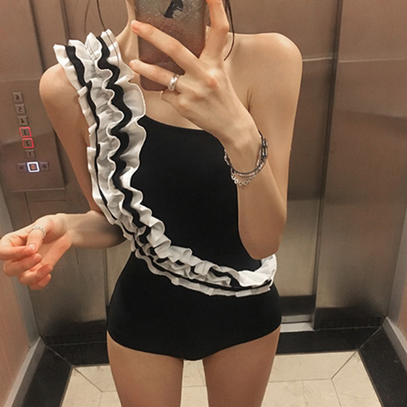 Swim Suit One Piece Bikinis Women Woman Plus Size Swimwear Large Swimsuits 2017 Ladies Beachwear Push Cover Up Japan Korea New