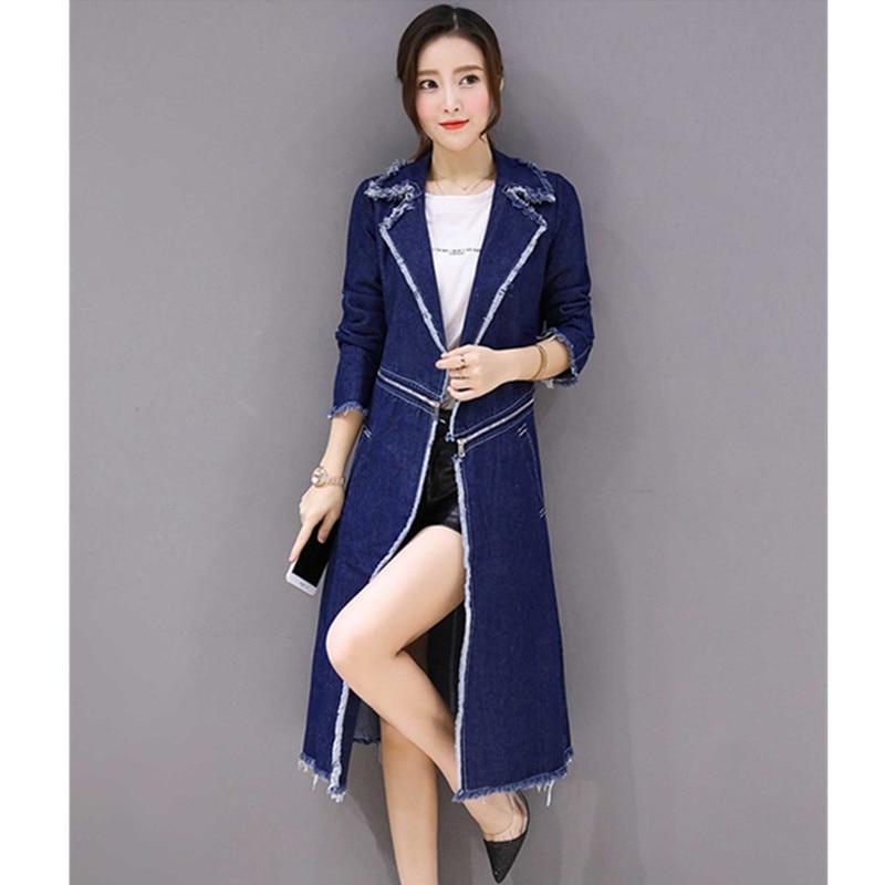 Plus Tranchée Dames Denim Séparable La Manteau Vêtements 1026 Blue Pour Long Hiver Yagenz Femmes Light Manteaux Taille vent Jassen Coupe qSzwXw5