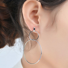 Big Round Earrings Geometric Hollow Metal Lucky 8 Minimalist Jewelry Fashion Simple Earring for Women