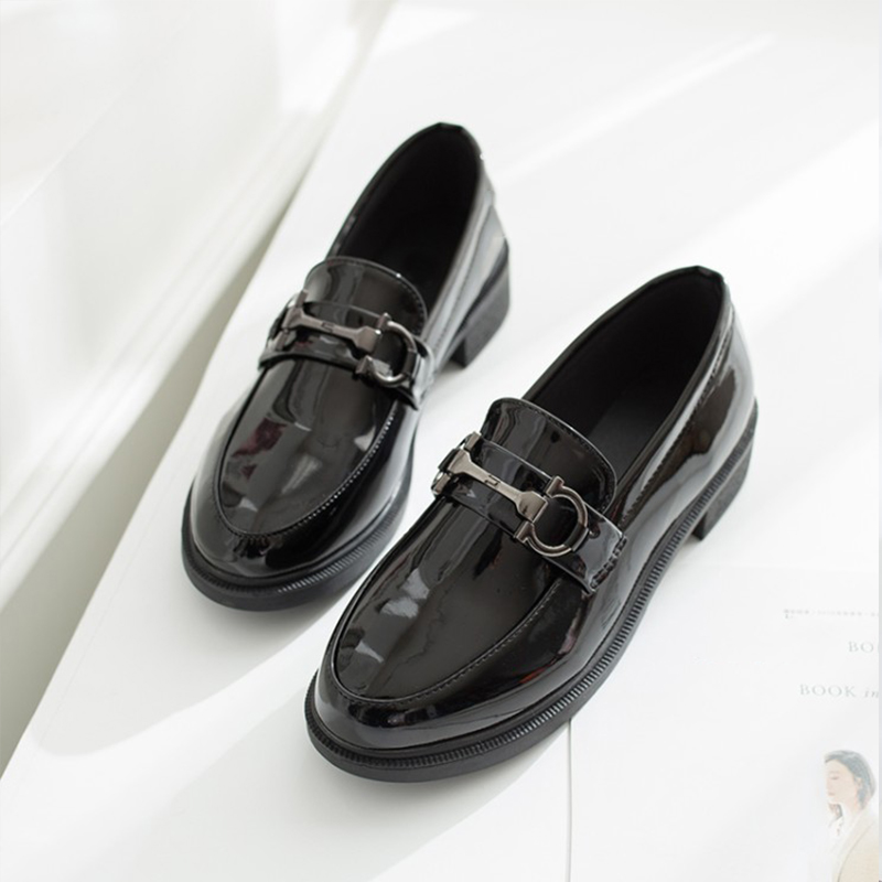 MCCKLE Low Heel Oxfords Shoes Woman PU Shollow Casual Buckle British Style Slip On Ladies Classic Single Shoes Female Footwear