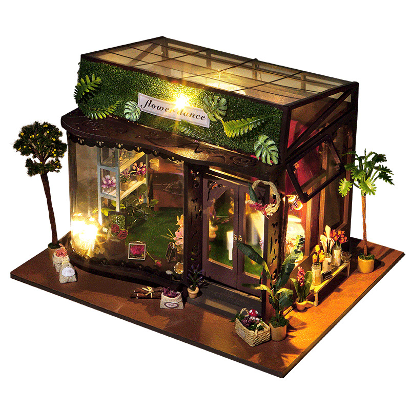 Miniature Flower Store Glass House Dollhouse DIY Wooden Dolls House With Music And LED Light Furniture Kits Christmas Gift