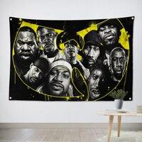Wu Tang Clan HipHop Musique Bande Équipe Logo Tissu Affiche Bannières Quatre-Trou Drapeau Dortoir Chambre Décoration Murale