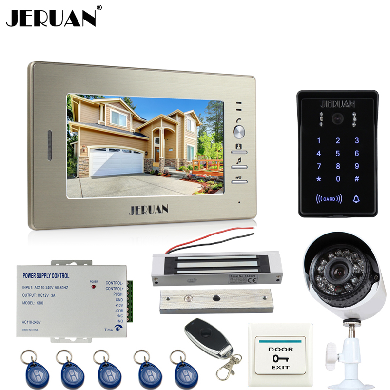 JERUAN luxury 7``video door phone intercom System monitor waterproof Touch Key password keypad Camera+700TVL Analog Camera+lock jeruan 8 inch tft video door phone record intercom system new rfid waterproof touch key password keypad camera 8g sd card e lock