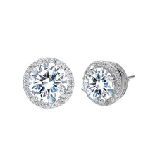 BELLA Fashion 925 Sterling Silver Bridal Earrings Round Cubic Zircon Stud Earrings Wedding Bridesmaid Accessories Party Jewelry