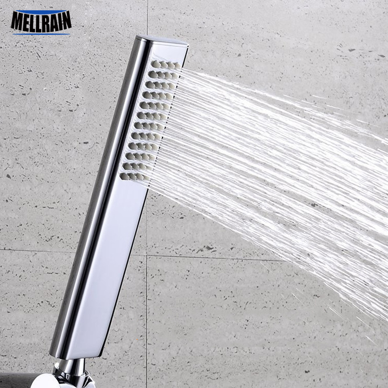 Quality brass hand hold shower head square rounded rectangle design polishing bright chromed water saving sprayer free shipping