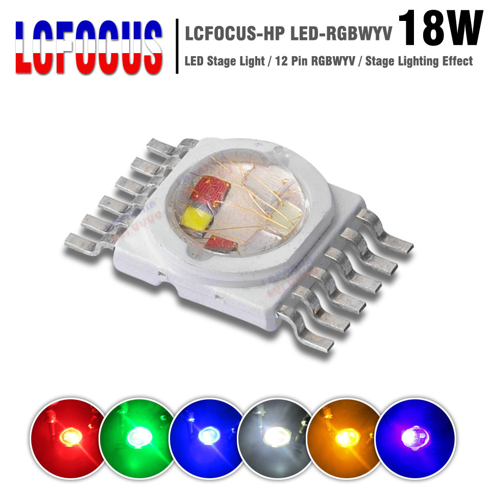 Supper Bright 18W RGBWYV Stage Light 45mil All Color 12 pin For 18 Watt Red Green Blue White Yellow Purple 1 3 5 W Watt LED Chip cute cartoon airplane style red light led keychain w sound effect blue white 3 x ag10