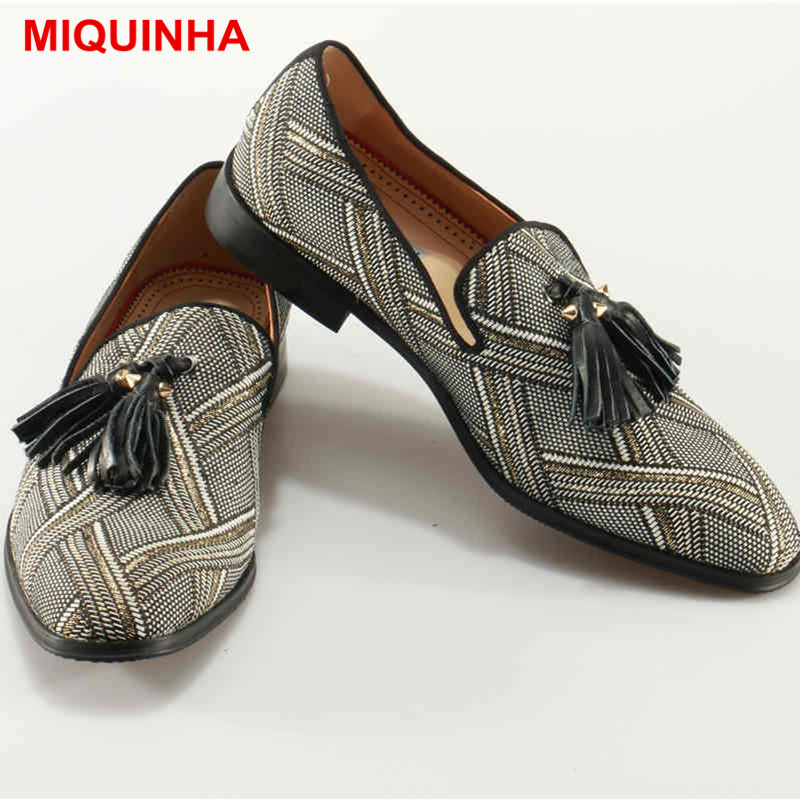 MIQUINHA Round Toe Low Top Men Casual Shoes Tassel Embellished Slip On Lazy Shoes Loafers Square Low Heel Fashion Luxury Brand ковшик roxy kids dino scoop mint rbs 002 m