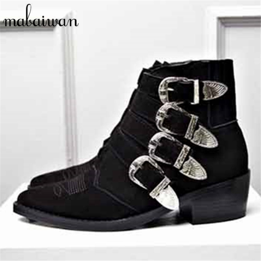 Black Nubuck Leather Women Booties 2017 Ladies Autumn Winter Thick Heel Ankle Boots Buckles Embroidered Martin