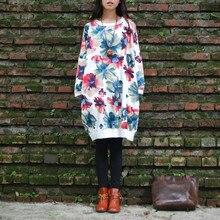 2015 осень женщины печать 100% хлопок Большой размер летучая мышь рукав длинный дизайн толстовка свободную рубашку