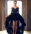 Gothic Black Lace Half Sleeve Prom Dress High Low Prom Ballkleid Pageant Dresses Long Evening Party Gowns Masquerade Costume