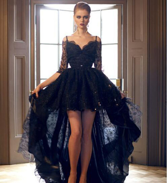Gothic Black Lace Half Sleeve Prom Dress High Low Prom Ballkleid ...