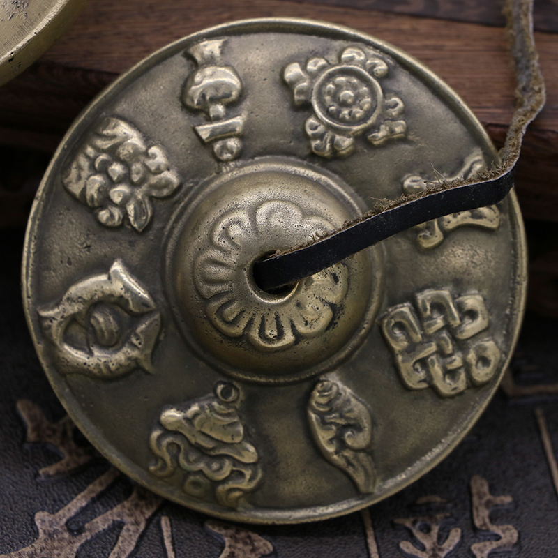 Buddhist musical instruments, Nepal, hand carved, auspicious eight diagrams, Ding sound cymbals