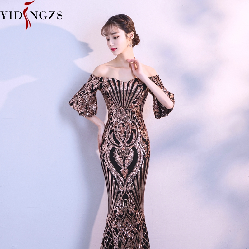 Image 4 - YIDINGZS New Flare Sleeve Black Gold Heavy Sequins Evening Dress 2019 Boat Neck Formal Evening Party Dress YD260-in Evening Dresses from Weddings & Events