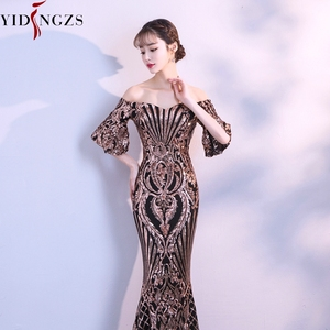 Image 4 - YIDINGZS New Flare Sleeve Black Gold Heavy Sequins Evening Dress 2020 Boat Neck Formal Evening Party Dress YD260