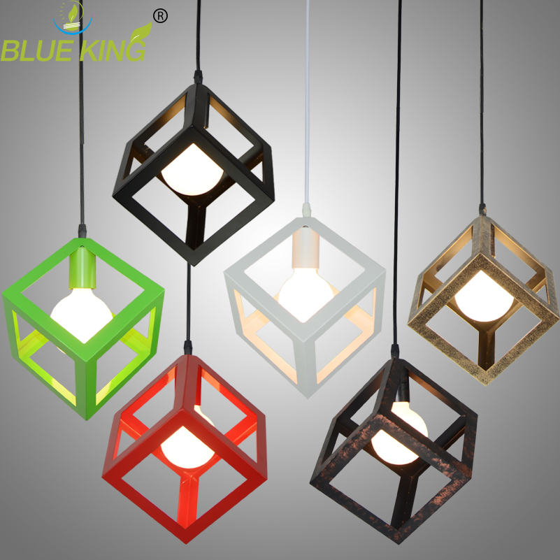 Vintage Cube Pendant Lights Northern Europe Industrial Iron Lightings For Cafe & Bar Retro Edison Loft Pendant Lamps loft style vintage pendant lamp iron industrial retro pendant lamps restaurant bar counter hanging chandeliers cafe room