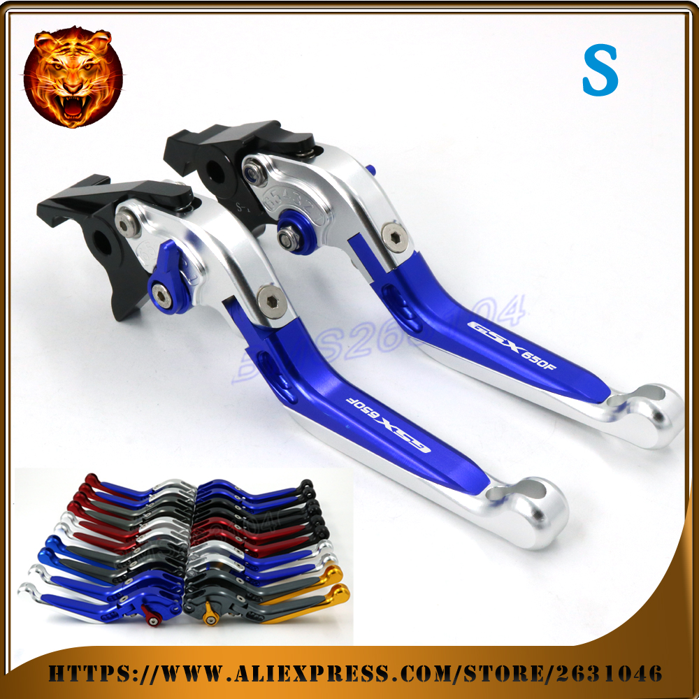 Adjustable Folding Extendable Brake Clutch Lever For SUZUKI GSX650F GSX650 08 09 10 11 12 14 WITH LOGO Free shipping Motorcycle adjustable short straight clutch brake levers for suzuki rgv 250 rgv250 gsx 600 f gsx600f sv 650 n s gsx r 750 w 1990 1995