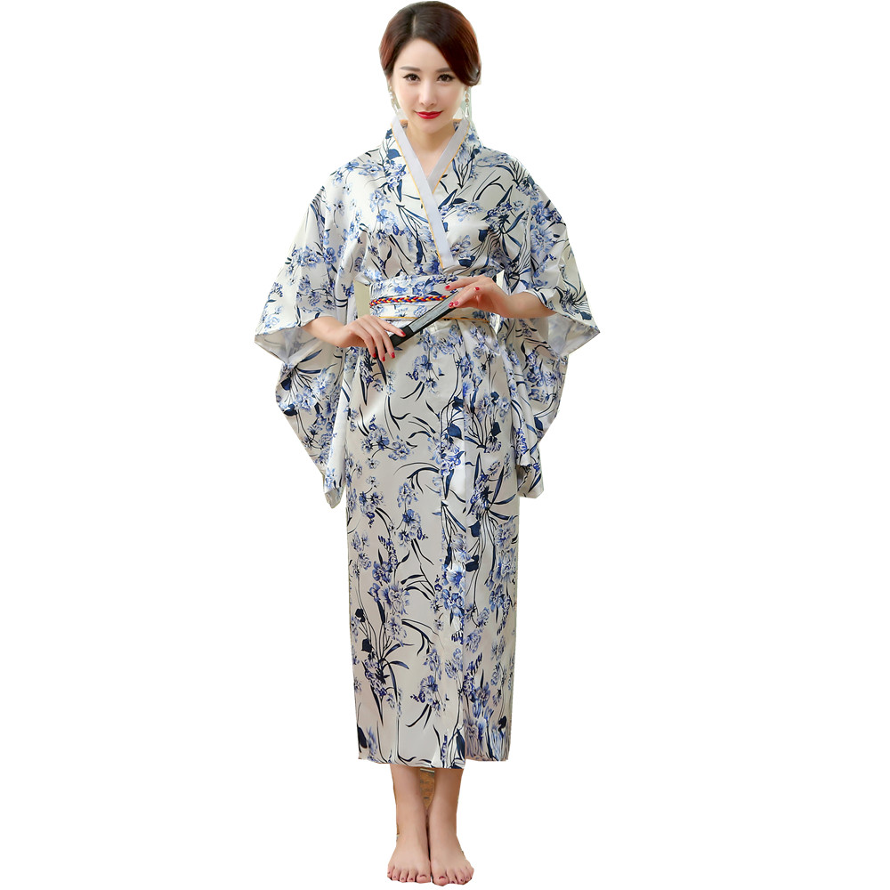 Japanese Traditional Women Silk Rayon Kimono Vintage Yukata With Obi Performance Dance Dress Halloween Costume One Size HL05