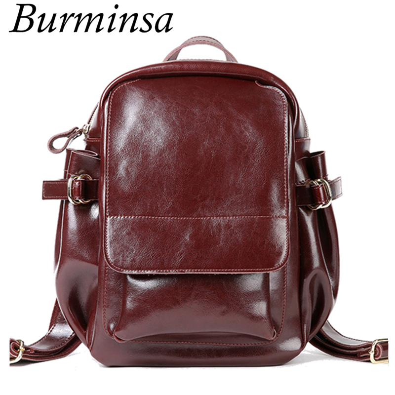 Burminsa Brand Winter Oil Wax Leather Backpack Anti Theft Women Travel Shoulder Bags Ladies School Bags For Teenage Girls 2017