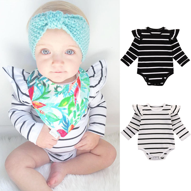 Newborn Infant Baby Boy Girl Clothes Long Sleeve Cotton Striped Bodysuit Jumpsuit Clothing 0-18M