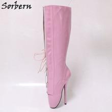 Sorbern Knee High Boots For Women Ballet Heels Pink Shiny Lace Up  Dominatrix Crossdressed Heels 18Cm 2871778aabbd