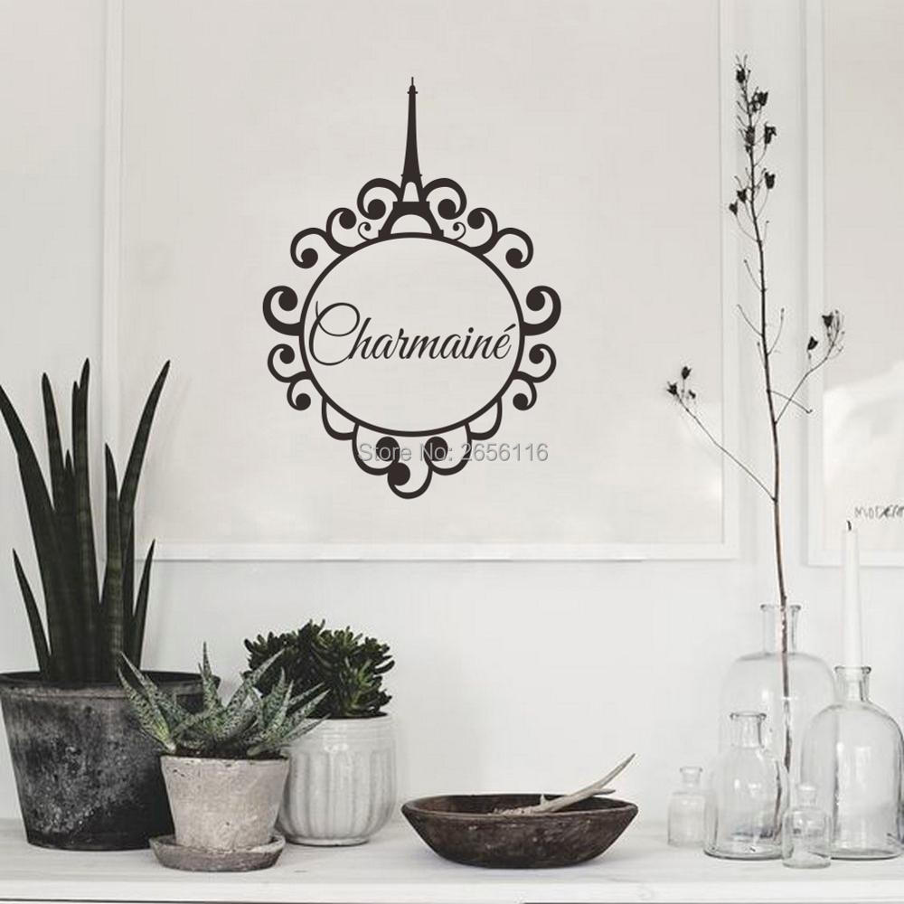 Paris eiffel tower personalized girls name vinyl wall art decals for room decoration