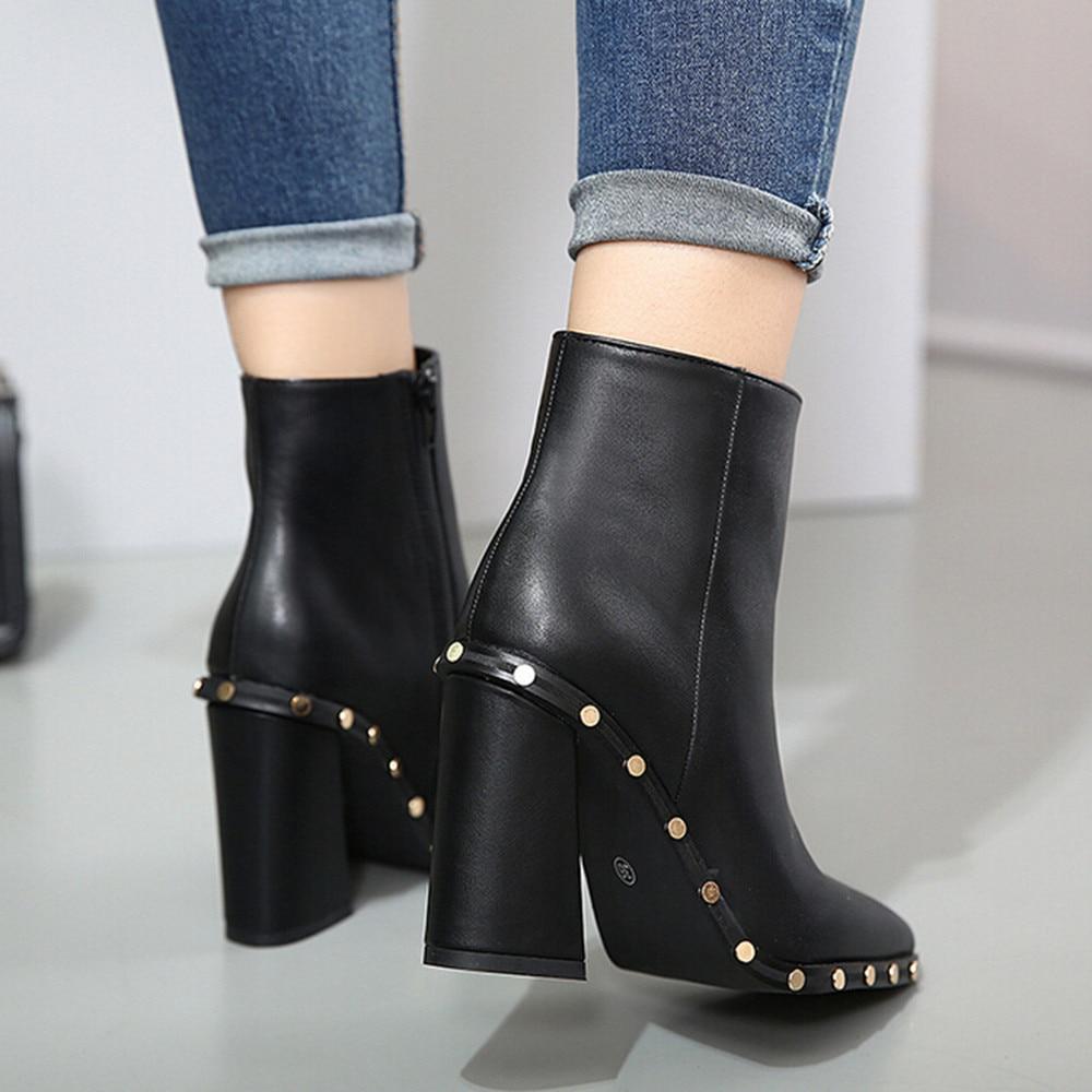 1026 Cloutés Cuir Zipper Chaussures Martin Sélections Cheville En Haut Toutes Talon Bottes Bout De Les Pointu Femmes Eqw4gga