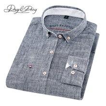 2020 haute qualité hommes chemise à manches longues coton et lin col rabattu robe solide décontracté hommes Camisas marque DS 240