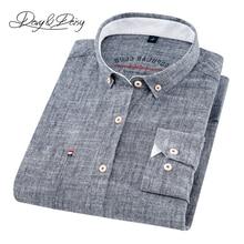 2020 عالية الجودة الرجال قميص طويل الأكمام القطن والكتان بدوره إلى أسفل طوق فستان الصلبة قميص غير رسمي الرجال DS 240 العلامة التجارية kamas