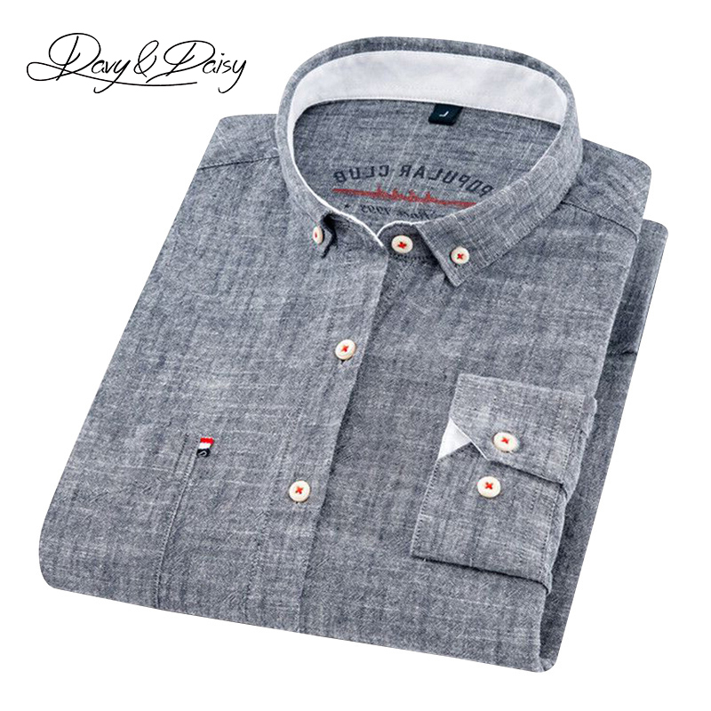 DAVYDAISY Men Shirt Dress Linen Long-Sleeve Cotton High-Quality Turn-Down-Collar And title=