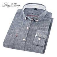 DAVYDAISY 2019 Hohe Qualität Männer Shirt Langarm Baumwolle Und Leinen Drehen-unten Kragen Kleid Feste Beiläufige Hemd Männer camisas DS-240