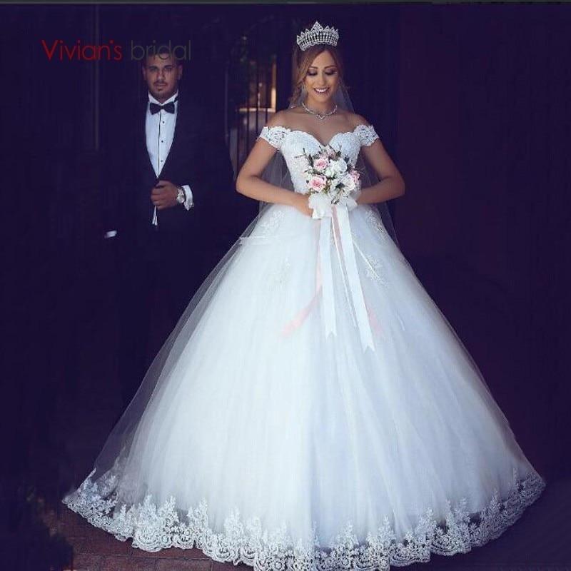 Robe de mariée Vivian dentelle blanche Appliques robe de bal robes de mariée 2018 hors de l'épaule manches courtes robes de mariée robes de mariée