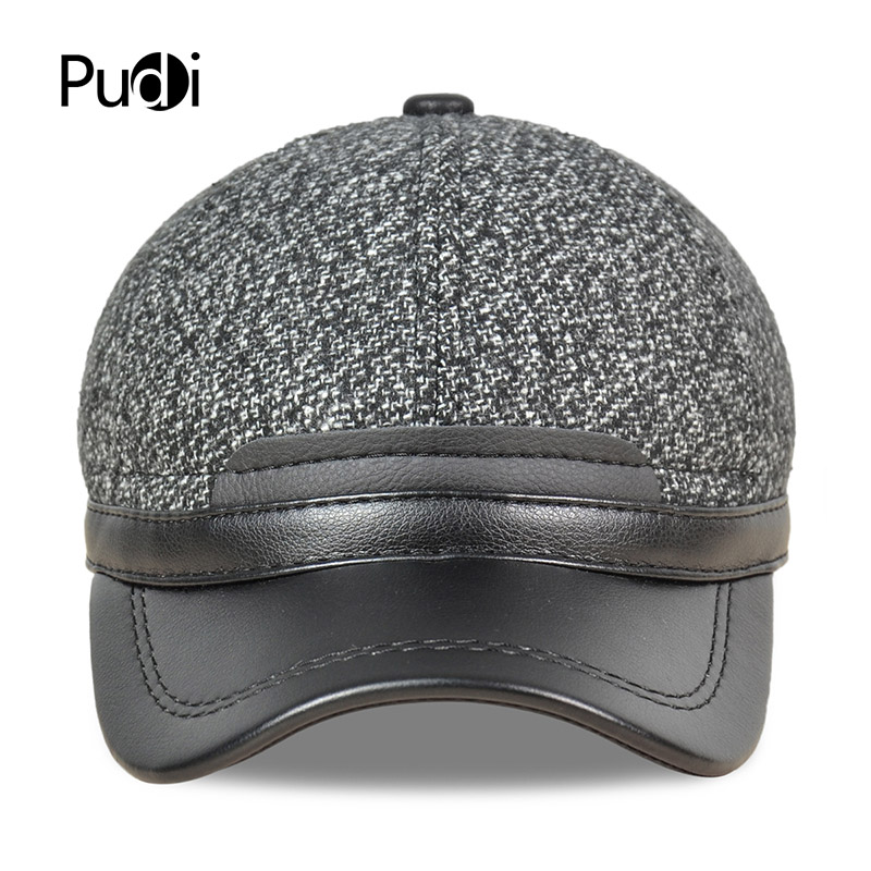 a9815c150cbf5 Pudi Men s Faux leather baseball cap hat brand new winter warm trucker  hunting ears flap caps hats JH709-in Baseball Caps from Apparel Accessories  on ...