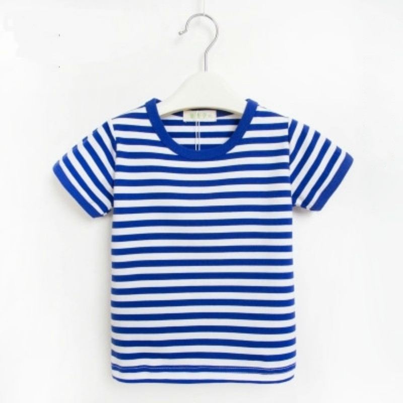 Unisex wear short-sleeved T-shirt summer cotton children's clothing blue and white stripes baby kids o-neck tops tee 90-150cm