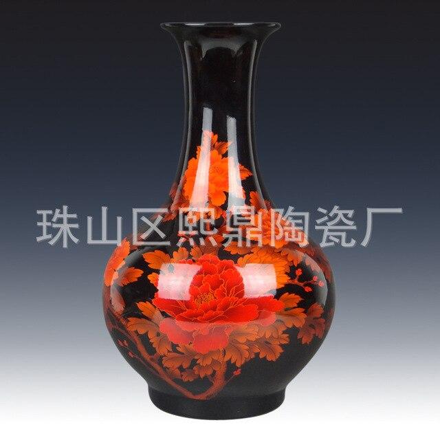 Jingdezhen Ceramic Vase Black Bloom Peony Buy A Bottle Of High Grade